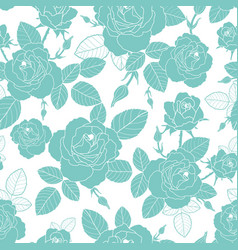 vintage light blue and white roses and vector image