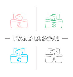 wet wipes pack hand drawn icons set vector image
