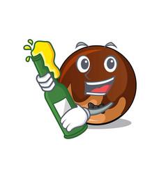 With beer chocolate donut mascot cartoon vector