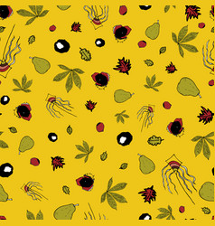 Yellow autumn leaves and pears doodle vector