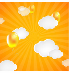 yellow sunburst background with clouds and vector image