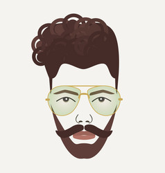 young dark brown hair hipster male with mustache vector image