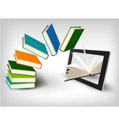 Books flying in a tablet vector image