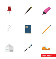 Flat icon tool set of fastener page pushpin vector