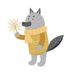 grey wolf in warm yellow sweater with sparkler vector image vector image