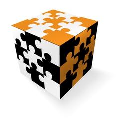 jigsaw cube vector image vector image
