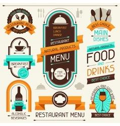 Restaurant menu banners and ribbons design vector