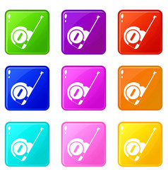 roulette construction icons 9 set vector image vector image