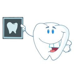 Tooth Cartoon Character With X-ray Picture vector image vector image