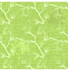 Vintage green seamless pattern with magnolia vector image vector image