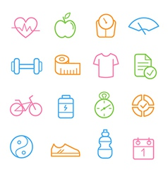 Colorful health and fitness icon set vector image