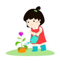 Cute cartoon girl watering plant vector
