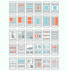 mobile phone flow charts wireframes vector image