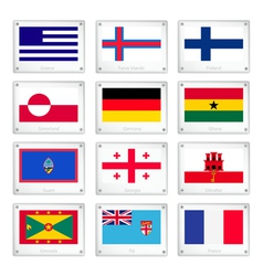 The Collection Flags on Metal Texture Plates vector image