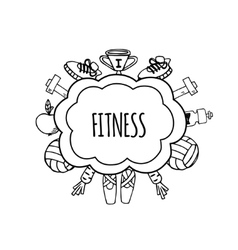 Fitness bublles white and black vector image vector image