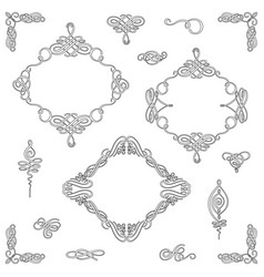 set collection of calligraphic elements and vector image