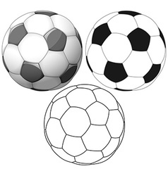 Soccer Ball Color Flat And Ink Pack vector image vector image