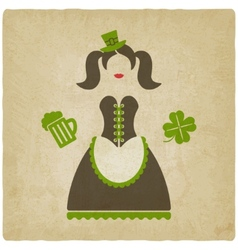 St Patricks Day girl vector image