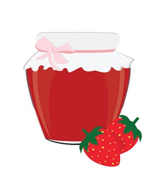 Strawberry jam and strawberries vector image