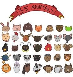 animal heads hand drawn vector image