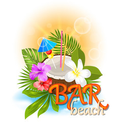 beach bar background with coconut cocktail vector image