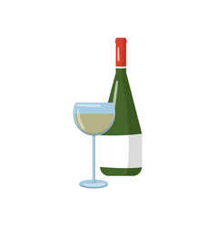 bottle and glass of white wine cartoon vector image