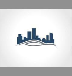 building cityscape wave logo vector image vector image