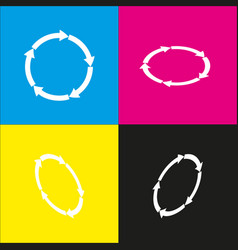 circular arrows sign white icon with vector image vector image