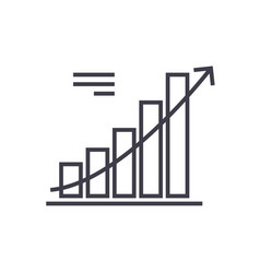line chart line icon sign on vector image