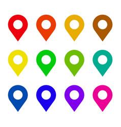 map pin flat icon set vector image