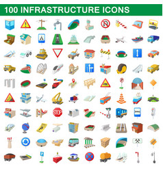 100 infrastructure set cartoon style vector