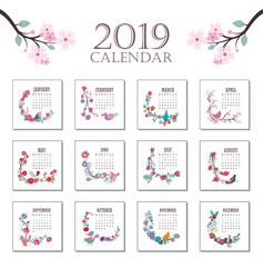 2019 calendar with beautiful colorful birds and vector image