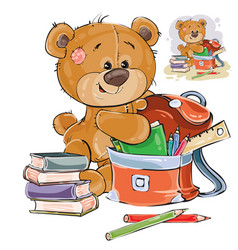 a brown teddy bear holds vector image