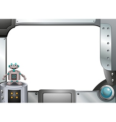 A gray metallic frame with a robot vector image