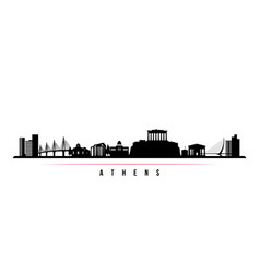 Athens skyline horizontal banner black and white vector