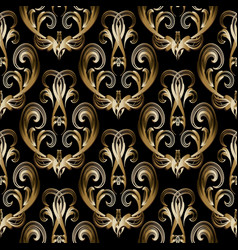 Baroque damask gold 3d seamless pattern black vector