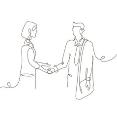 Business agreement - one line design style vector