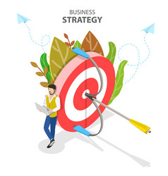 business strategy isometric flat conceptual vector image