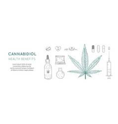 Cannabidiol health benefits background vector