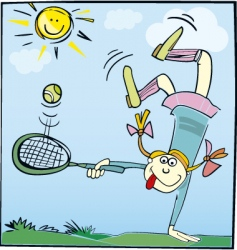 cartoon girl playing tennis vector image