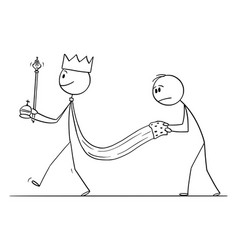 Cartoon medieval or fantasy king walking with vector