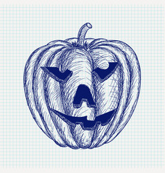carved halloween pumpkin hand drawn sketch vector image