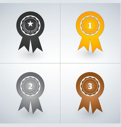 champions gold silver and bronze award badges vector image