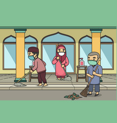 Children cleaning mosque yard wearing face vector