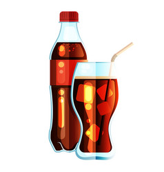 Cola bottle icon soda bottle with red lable and vector