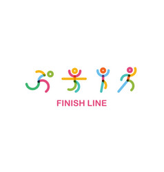 Colorful runners at finish line urning motion vector