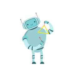 cute robot musician playing triangle musical vector image