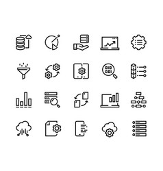 data analytic line icons business technology vector image