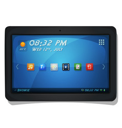 digital tablet pc with os icons vector image