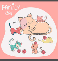 Doodle hand drawn cute cat with baby family vector